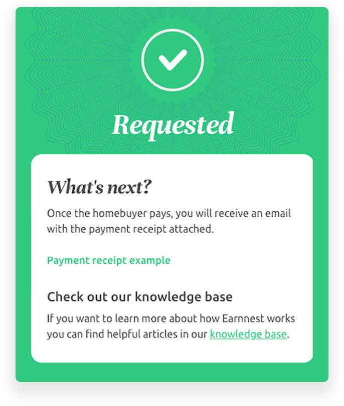Complete earnest payment request in dotloop via the Earnnest app